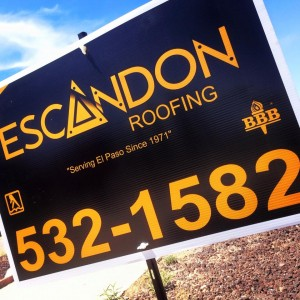 Escandon Roofing sign to provide roofing contractors